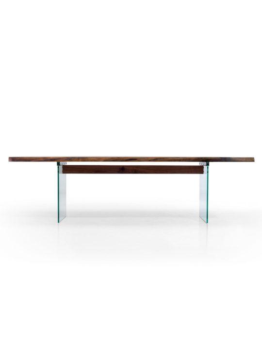 Holz Tisch mit Glasfuß im Profil