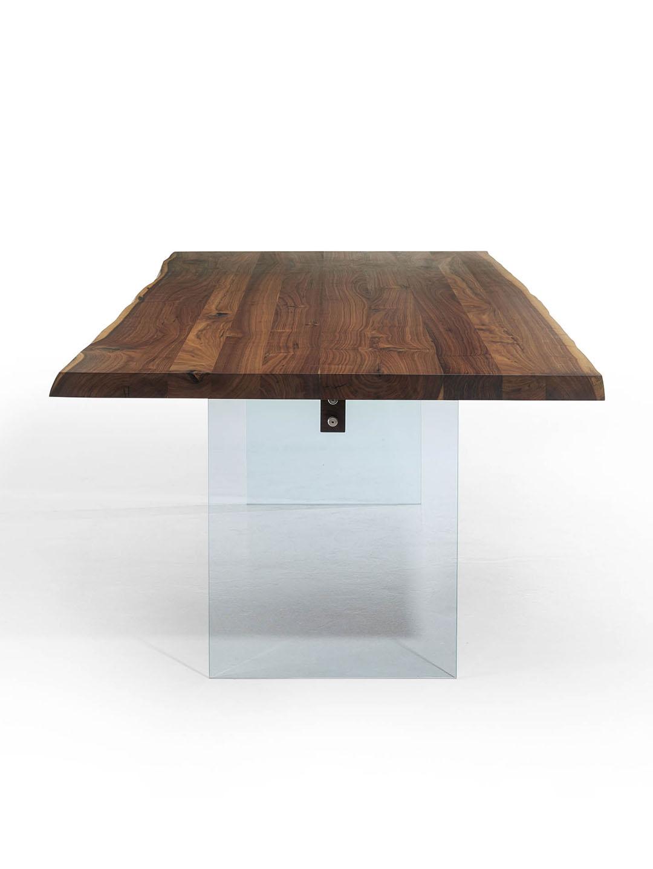 Massivholz esstisch mit glasbeinen tisch mit glaswangen for Esstisch glas