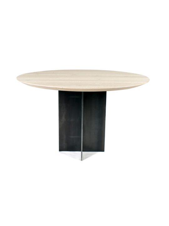 Massivholz Esszimmertisch rund mit Stahlfuß