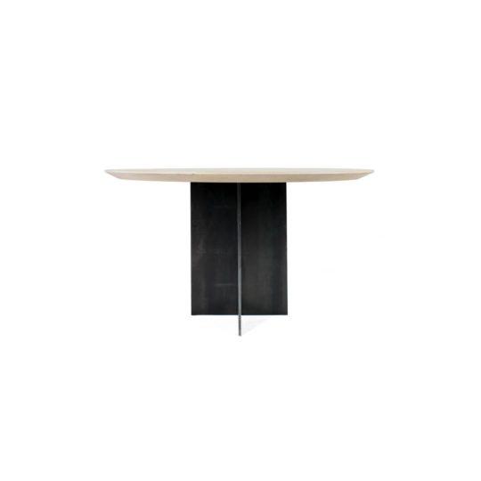 Runder Massivholz Esszimmertisch mit Stahlfuß im Profil