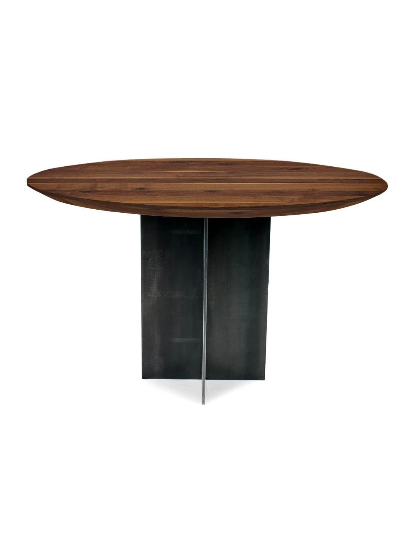 Rivolta nussbaum ast mit splint esstische nach ma for Tisch rund danish design