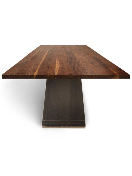 Tisch ZSteel in Nussbaum Ast mit Splintanteil