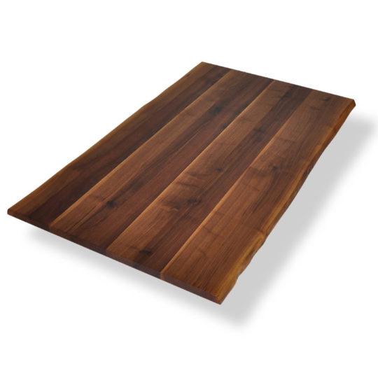 Tischplatte mit Baumkante in Nussbaum mit Ast- und Splintanteil
