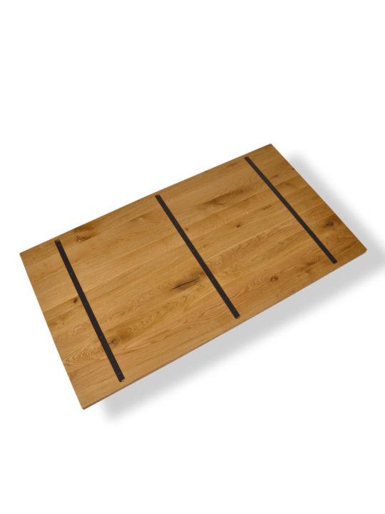 Wildeiche Tischplatte nach Maß mit Stahlkernen