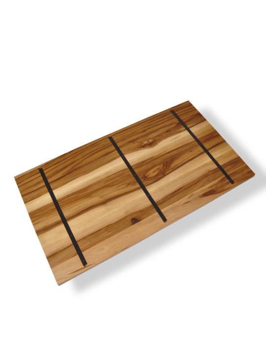Satin Nussbaum Tischplatte mit Stahlkernen