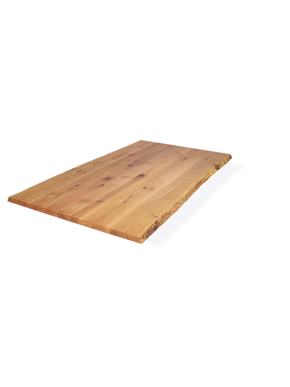 Wildeiche Tischplatte mit leichter Baumkante