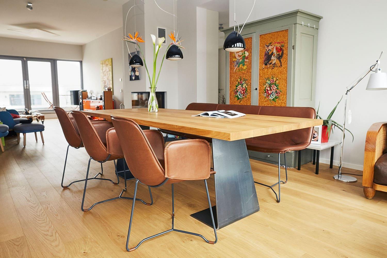 tisch nach maß, tisch eiche rohstahl, esstisch eiche, MBzwo, design sitzmöbel