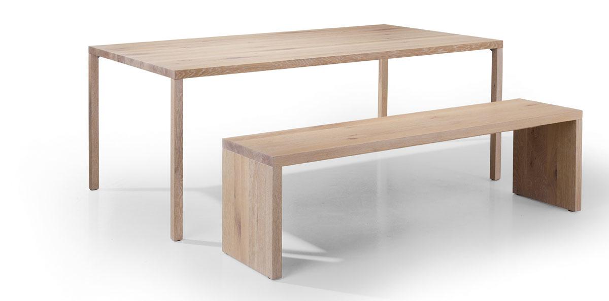 Massivholz Tisch mit Bank in Eiche weiß