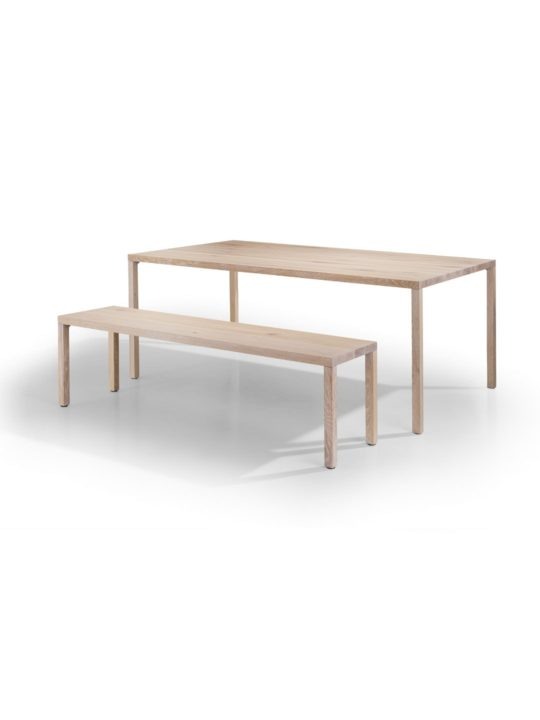 Massivholz Tisch mit Bank in weiß