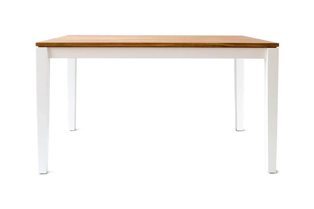 Ausziehtisch mit Eiche Tischplatte und weißen Tischfüßen