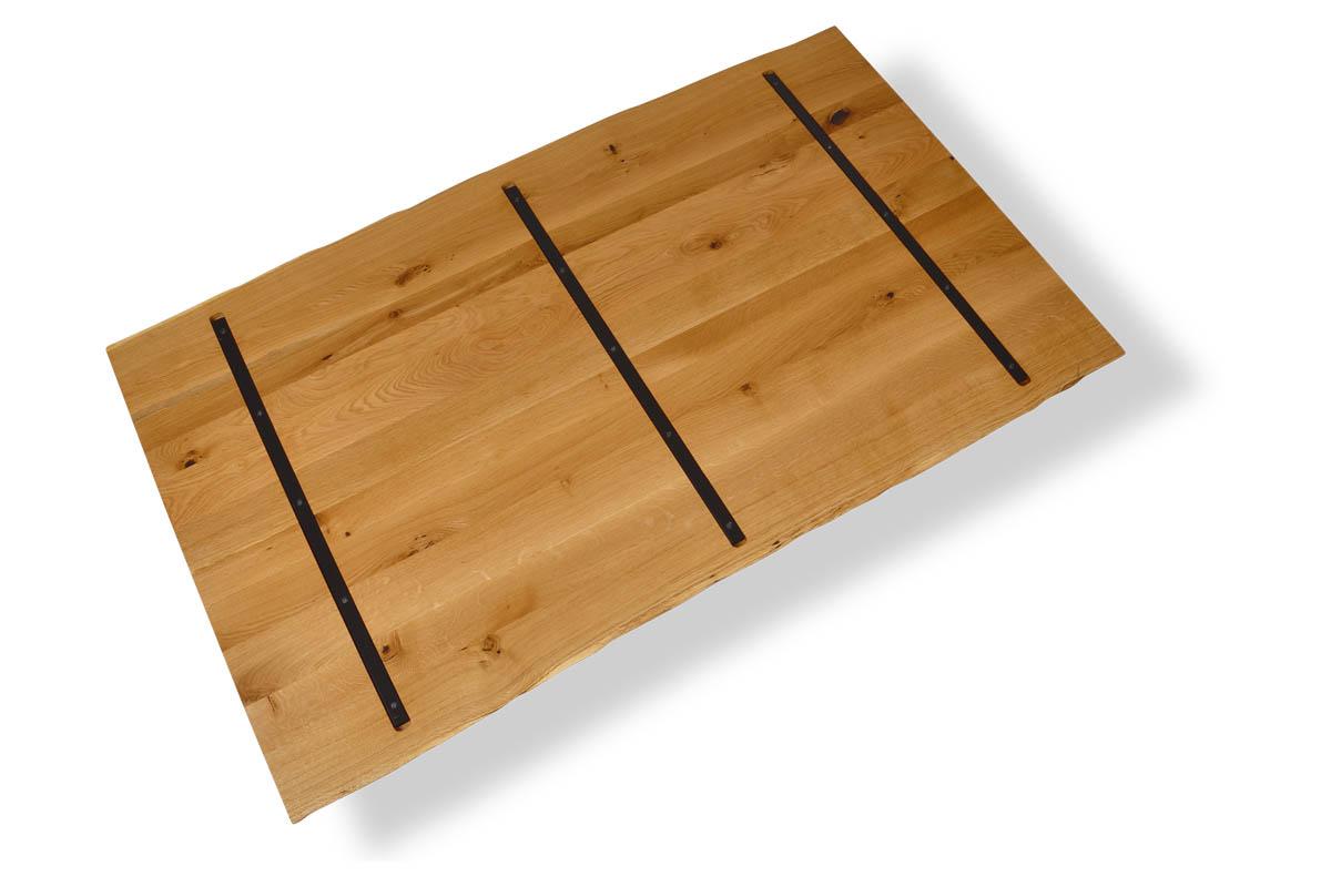 Massivholz Tischplatte in Eiche mit Stahlkernen