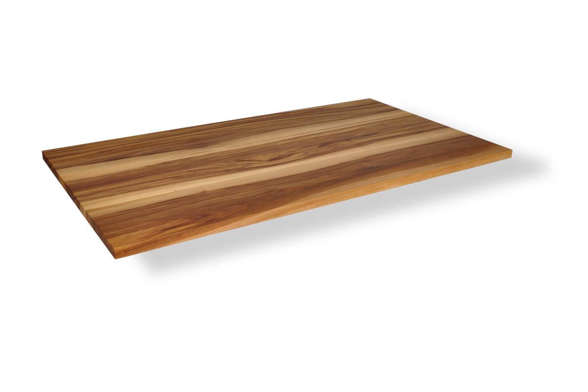 Massivholz Tischplatte in Satin Nussbaum