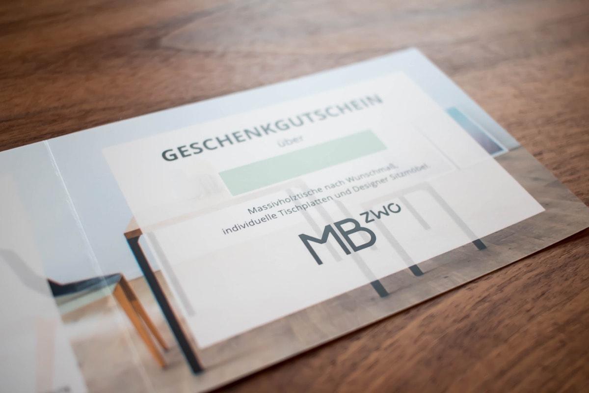 MBzwo Gutschein, MBzwo Massivholztische nach Maß