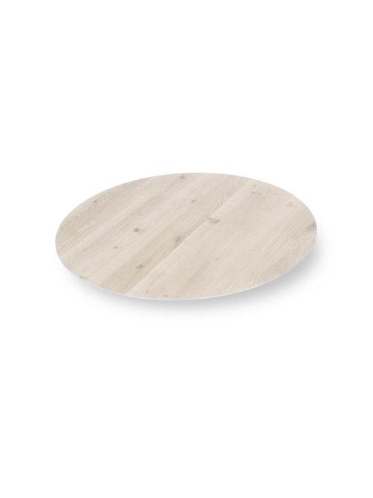 Runde Tischplatte nach Maß mit Schweizer Kante in Asteiche weiß geölt bei MBzwo
