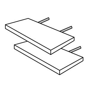 Zwei Ansteckplatten