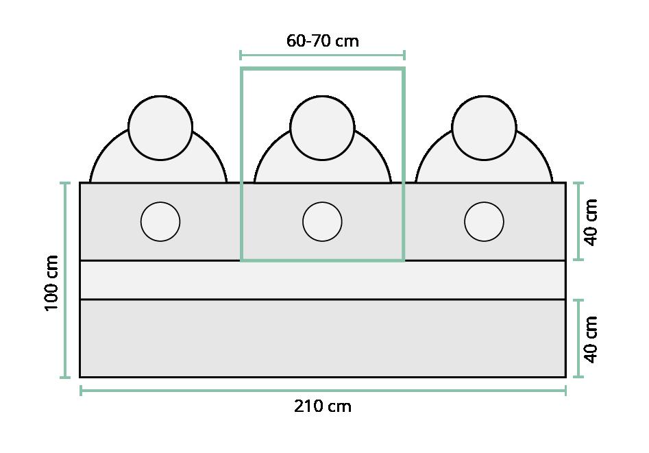 Skizze Maße gerader Tisch