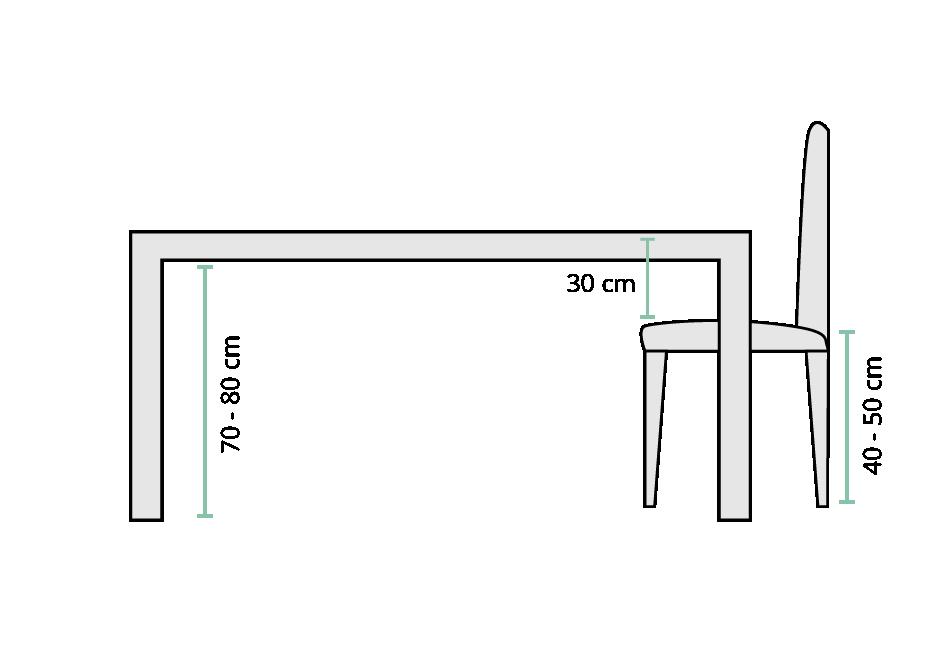 Skizze zur Maße der Höhe eines Tisches