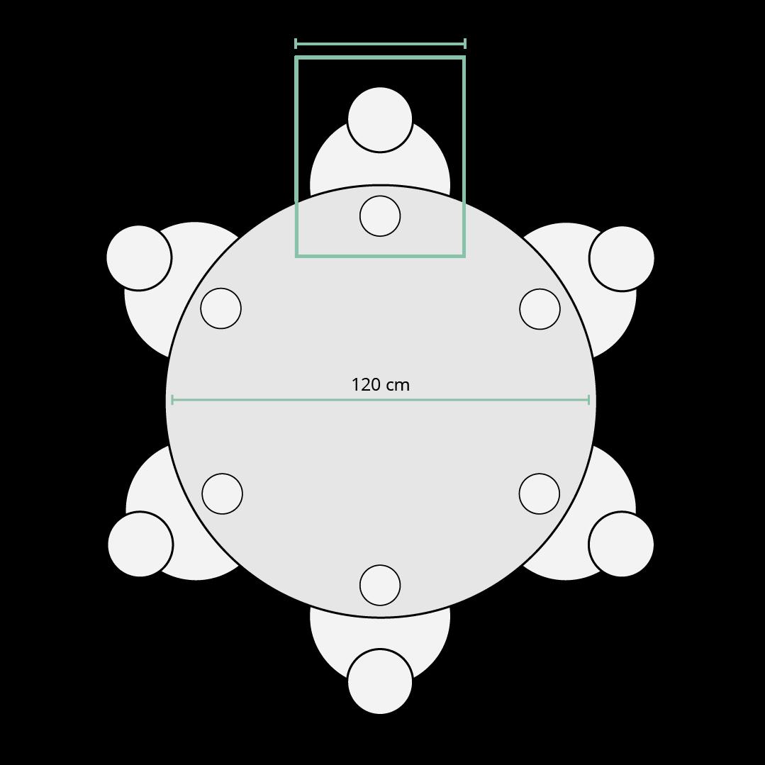 Skizze Maße runder Tisch