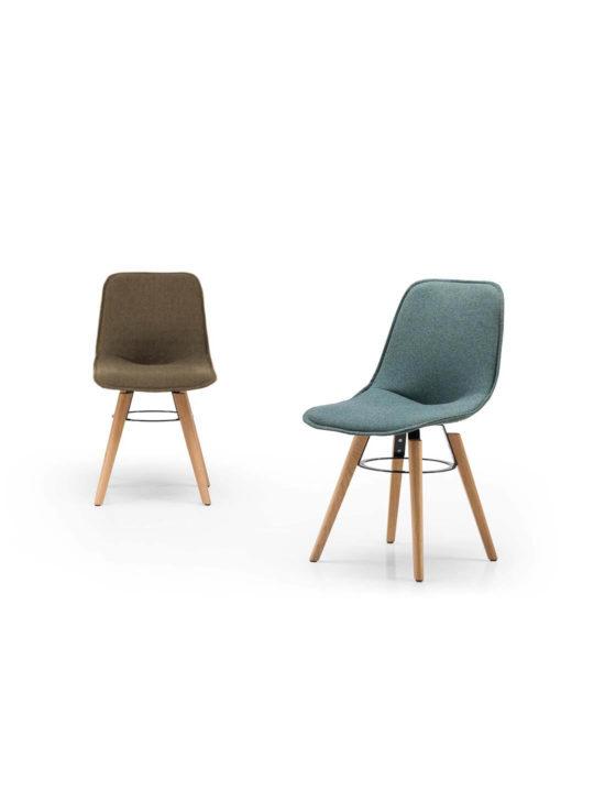 Design Stuhl Like in flax mit Holzuntergestell