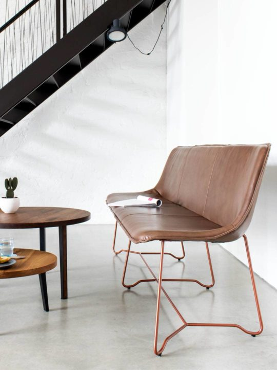 Design Leder Bank Like mit Couchtisch Titu, Design Bank, Designer Bank, Sitzbank